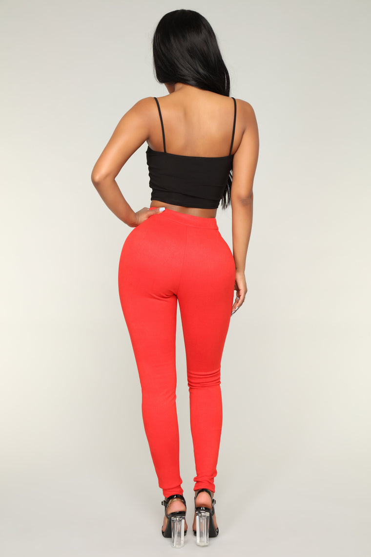 Janette Lace Up Pants - Red