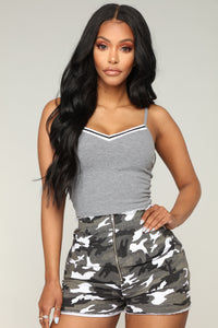 Can't Be Beat Crop Top - Grey