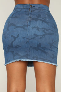 You Don't Impress Me Camo Skirt - Dark Denim