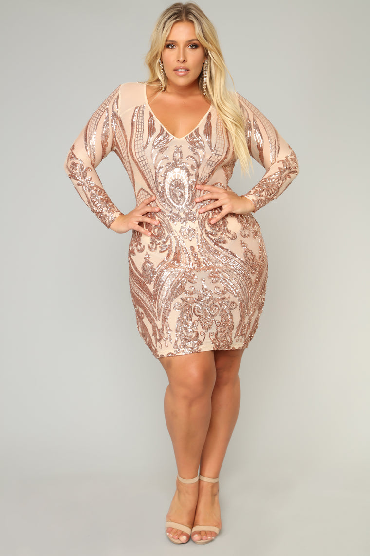Miss Fortune Sequin Dress - Nuderose Gold-9196