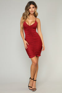 Shenzhen Ruched Dress - Burgundy