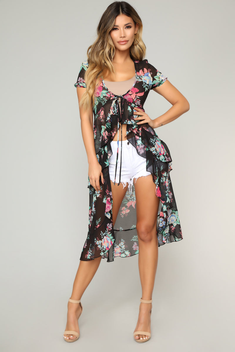 What Ever It Takes Floral Top - Black Combo