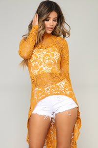 Crochet Dream High Low Top - Mustard