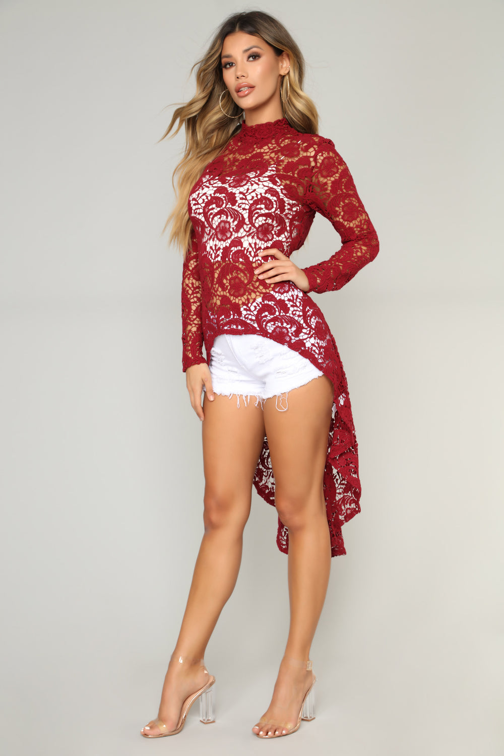 Crochet Dream High Low Top - Wine