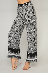 Beyond the Border Print Pants - Black Multi