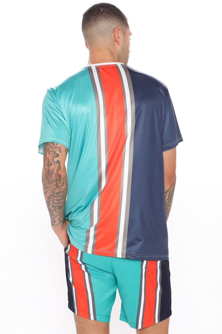 Soul Power Short Sleeve Tee - Blue/combo