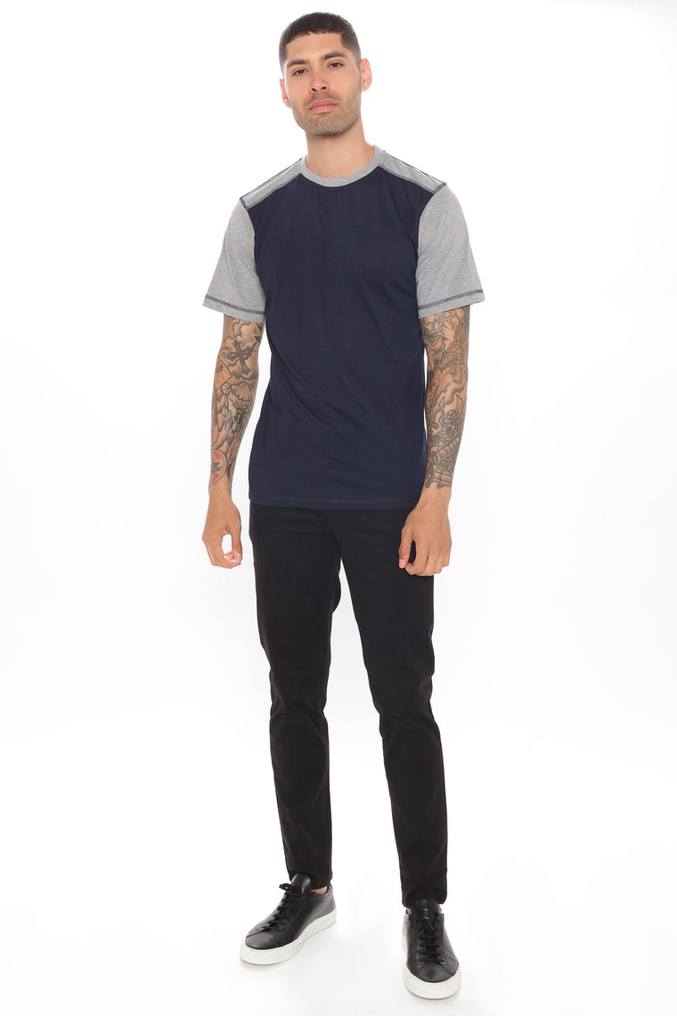 Two Faced Short Sleeve Tee - Navy/combo