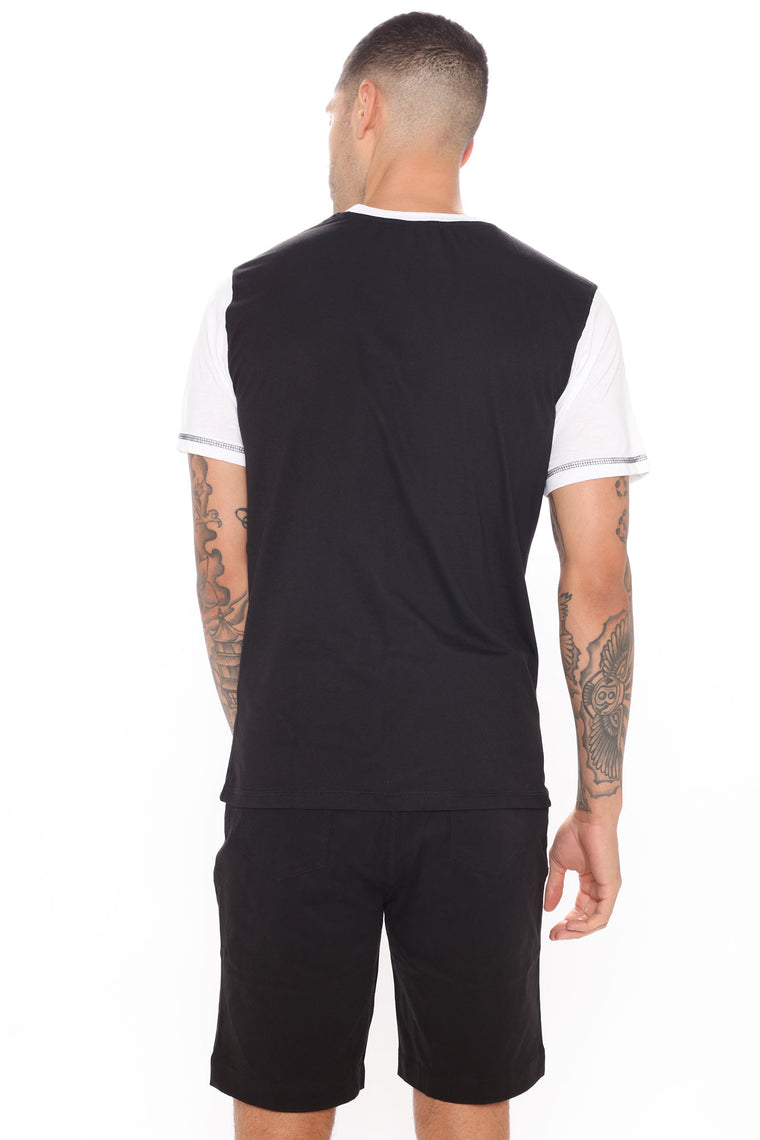 Two Faced Short Sleeve Tee - Black/White
