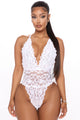 Last Minute Visit Lace Teddy - White