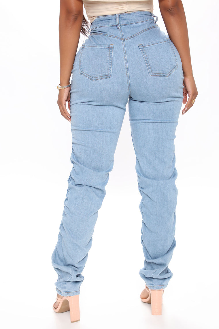 Got My Future Stacked Jeans - Light Blue Wash
