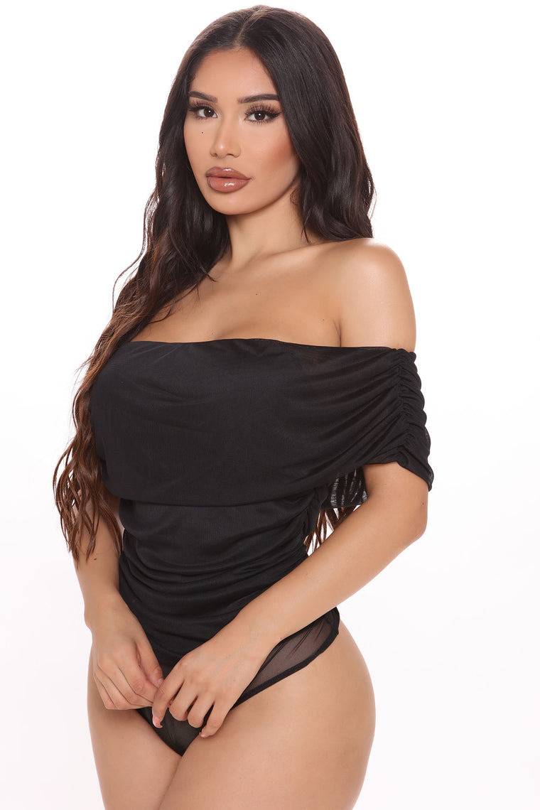 I'll Be Your Lover Ruched Bodysuit - Black