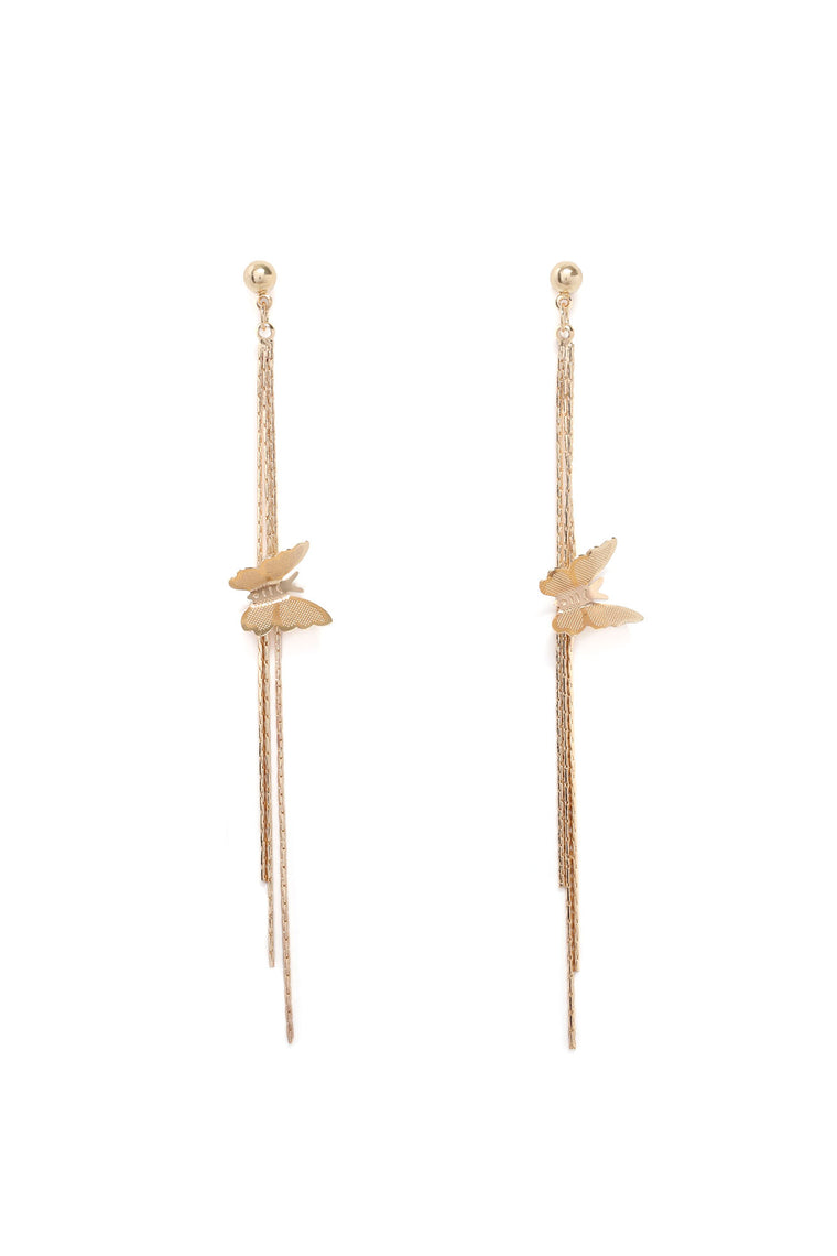 Butterfly Kisses Drop Earrings - Gold