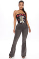 Free Spirit Pull On Flare Jeans - Grey