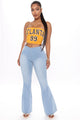 Free Spirit Pull On Flare Jeans - Light Blue Wash