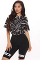Circling My Mind Tie Dye Top - Black/White