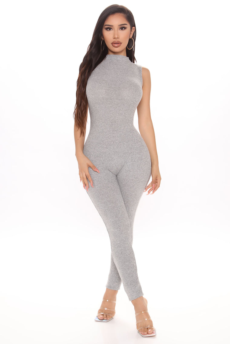 Playing You Ribbed Jumpsuit - Heather Grey