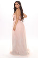 Queen For A Day Glitter Maxi Dress - Blush