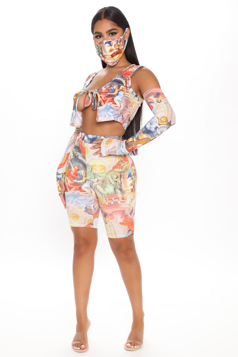 Back In Time 4 Piece Biker Short Set - Multi Color