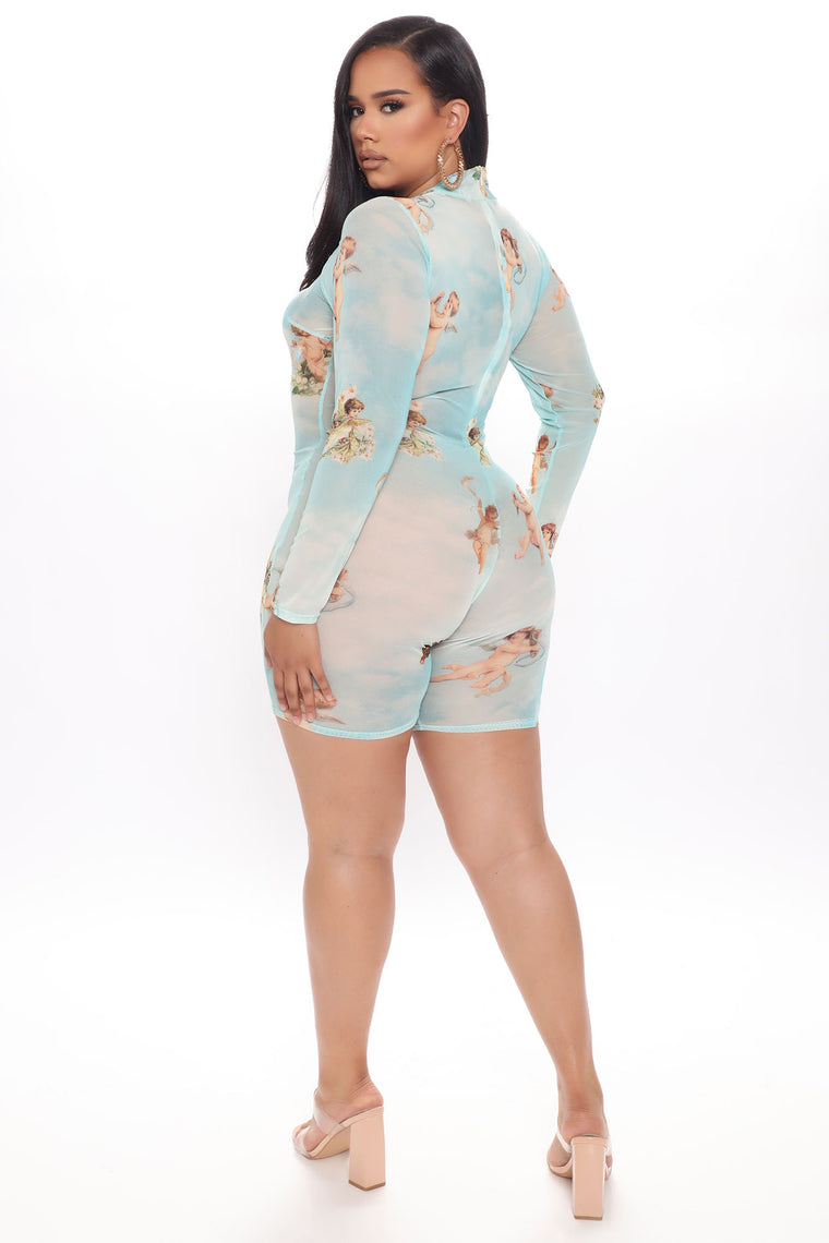 Cloudy Cuddles Mesh Romper - Blue/combo