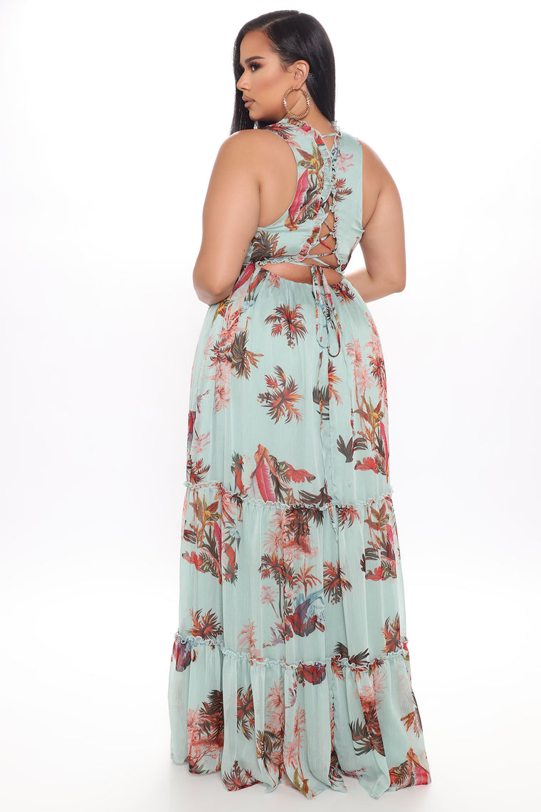 Beach Breeze Floral Maxi Dress - Mint