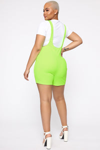 Cat Walking The Streets Suspender Shorts - Neon Green