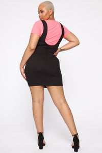 Stacey Overall Mini Dress Set - Neon Pink/Black
