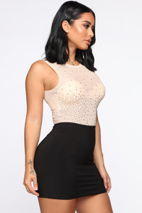 What A Stud Mesh Bodysuit - Nude