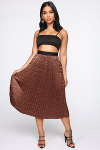 Wild And Pretty Pleated Midi Skirt - Tan/Multi