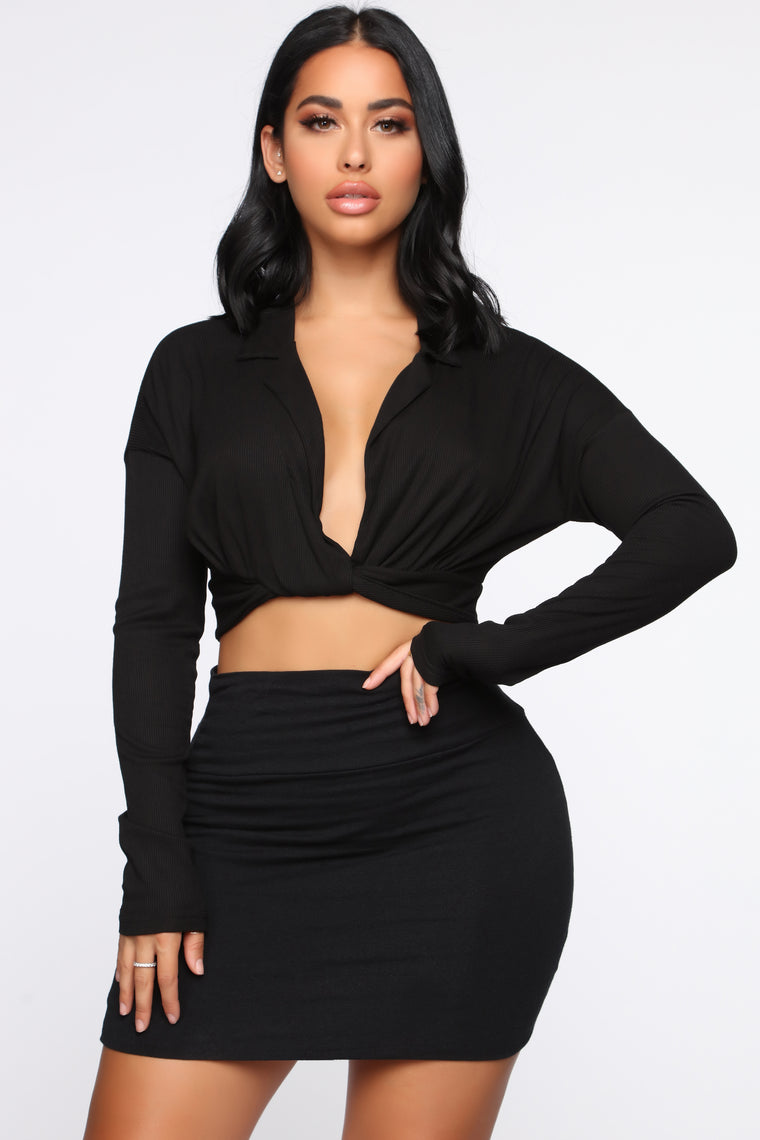 It's My Business Long Sleeve Top - Black