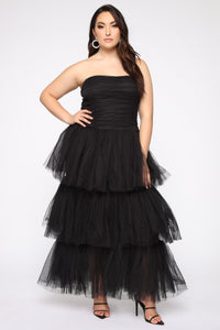 Adore A Ball Tiered Tulle Gown - Black Angle 1