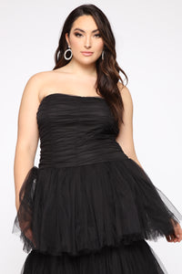 Adore A Ball Tiered Tulle Gown - Black Angle 2