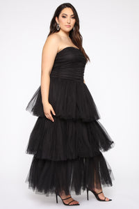 Adore A Ball Tiered Tulle Gown - Black Angle 3