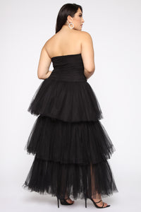 Adore A Ball Tiered Tulle Gown - Black Angle 4