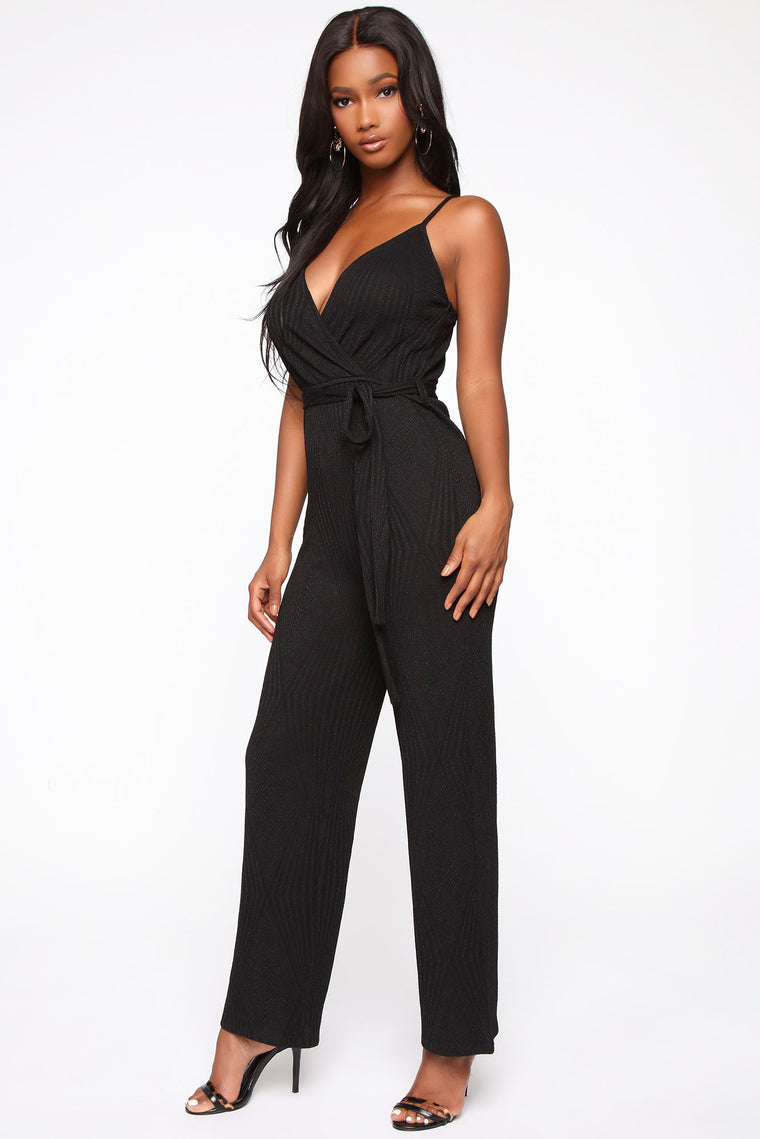 Sweet Simplicity Metallic Jumpsuit - Black
