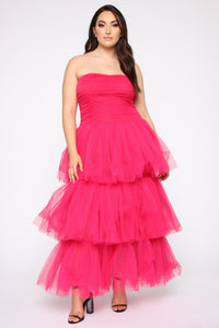 Adore A Ball Tiered Tulle Gown - Fuchsia