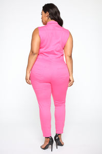 Tammy Denim Jumpsuit - Pink