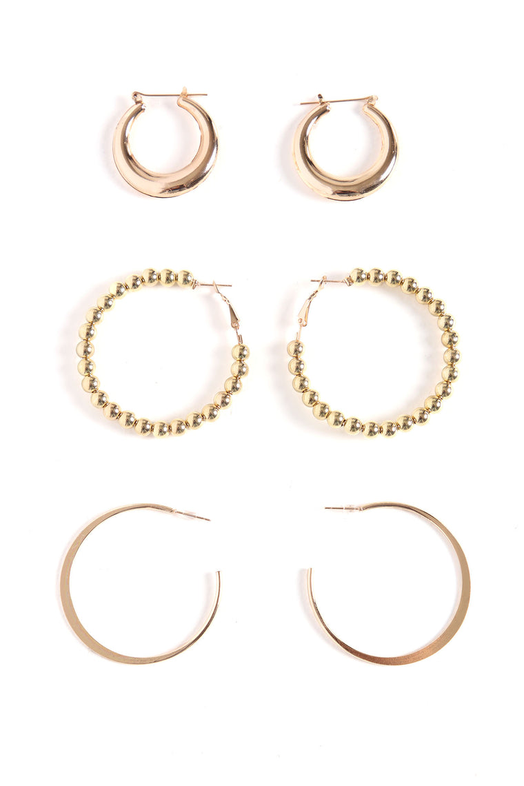 Best You Ever Had Hoop Earring Set - Gold