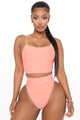 Beach Weather 2 Piece High Rise Bikini - Peach