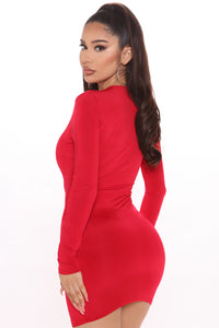 This Just Got Deep Mini Dress - Red Angle 3