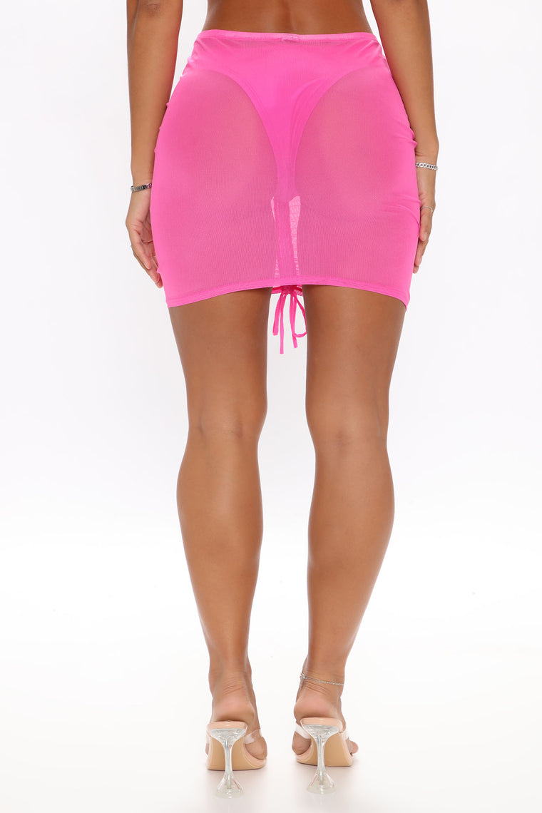 Island Baddie Ruched Skirt Cover Up - Pink