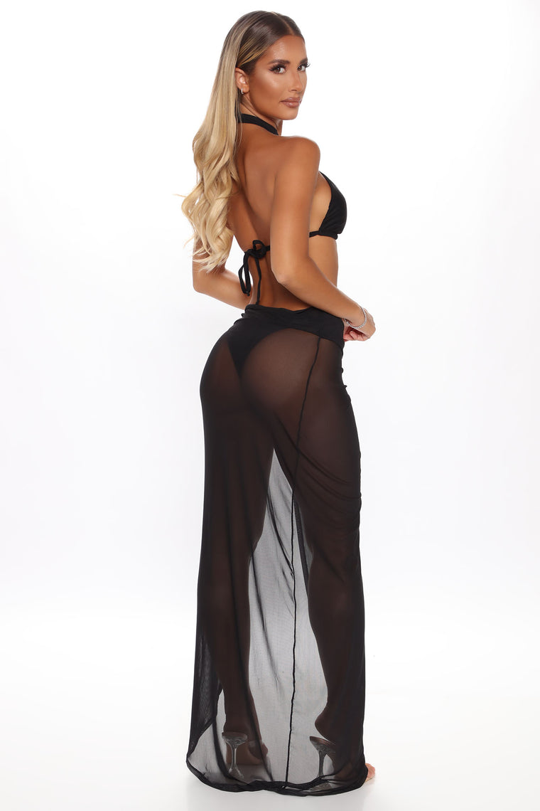 Water Baddie 3 Piece Bikini And Cover Up - Black