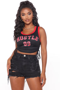 Hustle Game Crop Top - Black/Red Angle 2