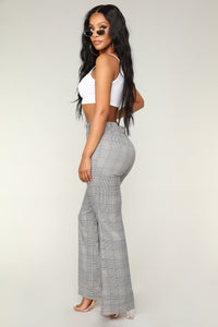 Get Right With Ya Plaid Pants  - Black/White