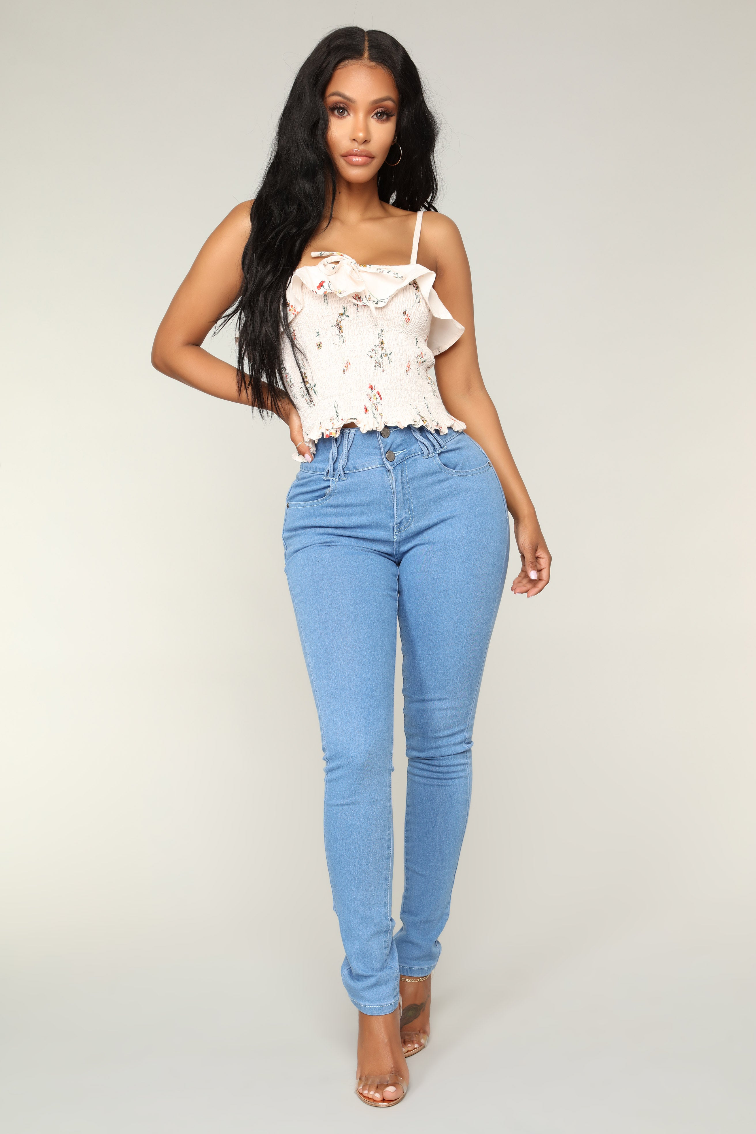 287a4429619 Hold Me Tight High Rise Skinny Jeans - Light Blue Wash