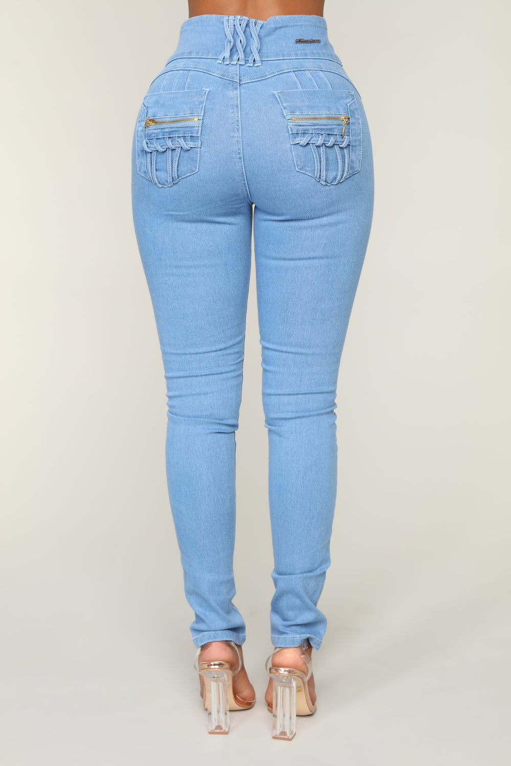 Hold Me Tight High Rise Skinny Jeans - Light Blue Wash