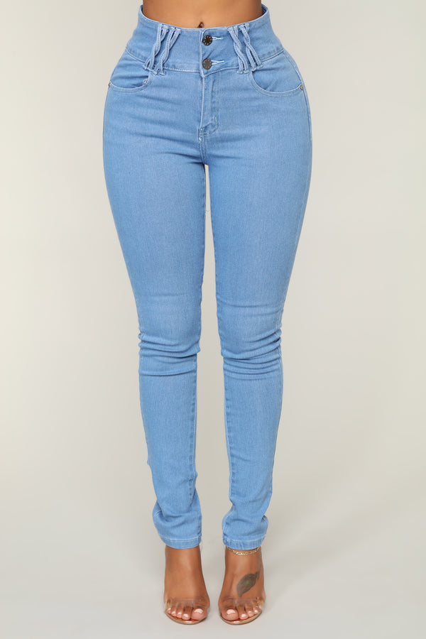 a68ca891761 Hold Me Tight High Rise Skinny Jeans - Light Blue Wash