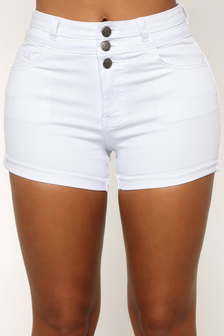 Unlimited High Rise Denim Shorts - White