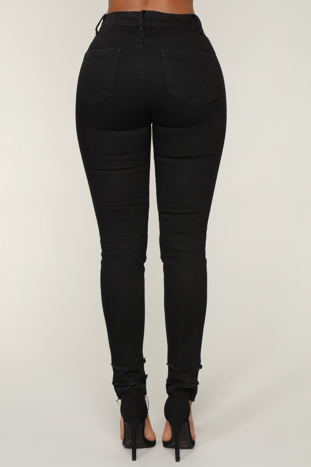 Double Up Fray Skinny Jeans - Black