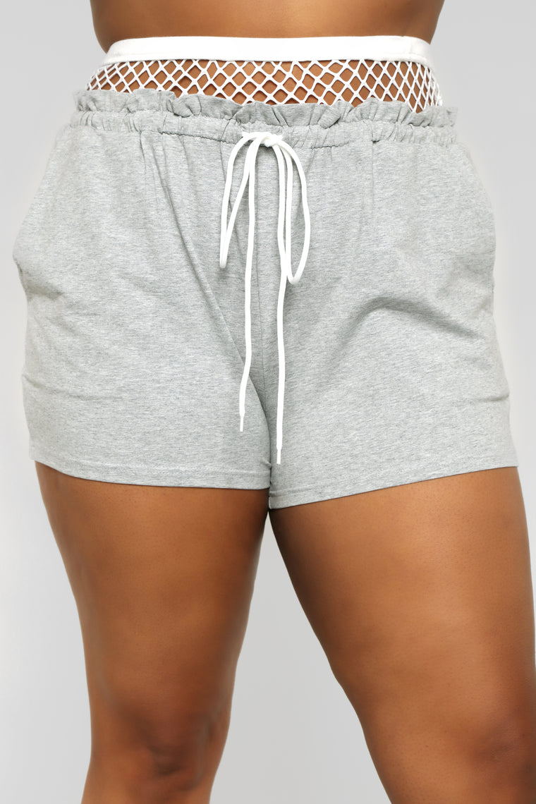 Out from Under Fishnet Active Shorts - Grey