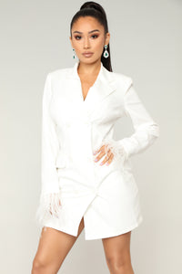 Mayra Feather Dress - White